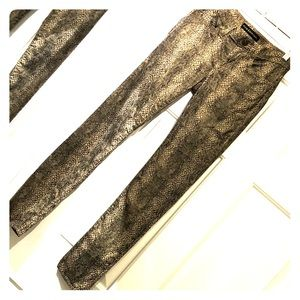 Gold Metallic, black and beige Reptile print jeans